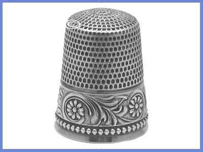 Antique Sterling Silver Thimble 'Flowers & Leaves' *C.1890s