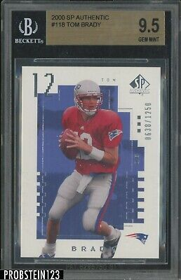 2000 SP Authentic #118 Tom Brady New England Patriots RC Rookie 638/1250 BGS 9.5