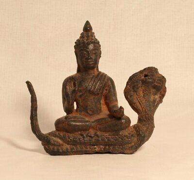 Antique Khmer style Bronze Buddha on a Naga
