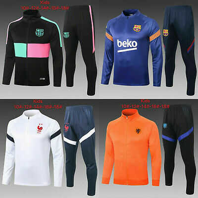 20/21 Kids Boys Soccer Tracksuit Football Sportswear Top& Bottoms Sports Outfits
