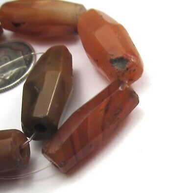 7 Rare Amazing Old/Ancient Large Faceted Banded Carnelian Agate Beads~**~