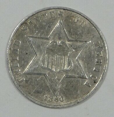 1860 Silver Three-Cent Piece EXTRA FINE/ALMOST UNCIRCULATED 3c Trime