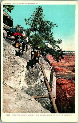 "c1902 GRAND CANYON Postcard ""Starting Down Grand View Trail"" Detroit Photo."