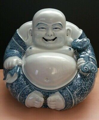 "Antique Chinese Porcelain Buddha Statue Blue White Famille Rose 10"" Tall"