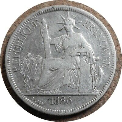 elf French Indo China 1 Piastre 1886 A Silver
