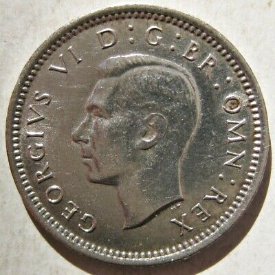 Nice Great Britain 1937 King George Vi Silver Three Pence Coin (Km#848)