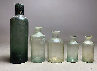 1780's Lot (5) Antique 18thC Old OPEN PONTIL Early COLONIAL OUTHOUSE DUG BOTTLE