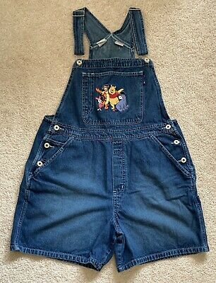 Disney Winnie The Pooh Denim Jeans Women's Overalls Shorts Size L Embroidered