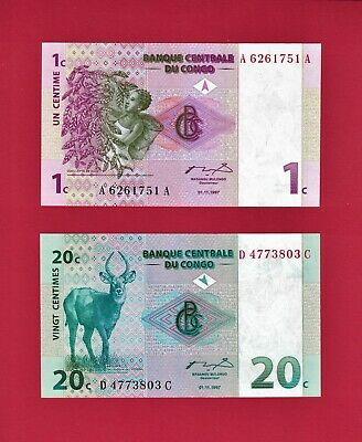 TWO BEAUTIFUL CONGO UNC BANKNOTES: 1 Centime 1997 (P-80a), & 50 Centimes (P-83a)