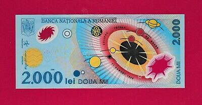 EUROPE 1st Polymer, UNC Note: 2000 Lei 1999 ROMANIA Eclipse Solar System, P-111a