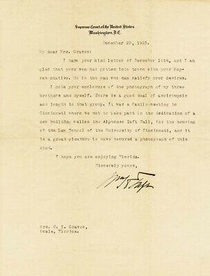 William H. Taft - Typed Letter Signed 12/22/1925
