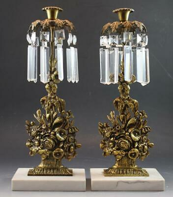 Antique 19C Gilt Bronze & Marble Pair Girandole Candlesticks Mantle Set w Prisms