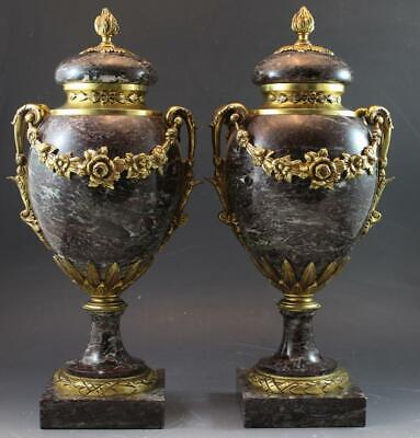 Pair 1910 French Neo Classical Gilt Bronze & Marble Garniture Cassolettes