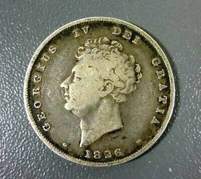 1826 Silver Great Britain 1 Shilling King George Iv Coin