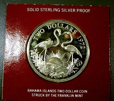1972 Bahama Islands Proof $2 Two Dollar Coin Sterling Silver Flamingo