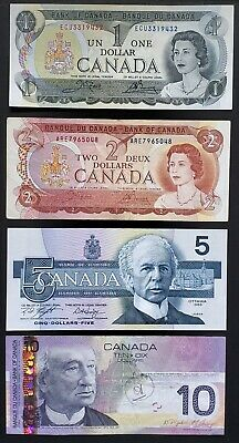 Lot of 4x Bank of Canada Banknotes - 1973 $1, 1974 $2, 1986 $5, 2005 $10