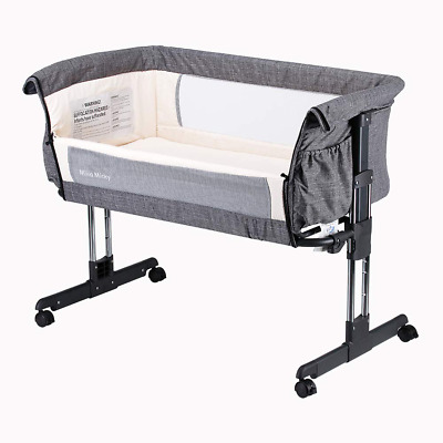 Children's toddlers Bedside Sleeper Easy Folding Portable Crib,Grey comfy