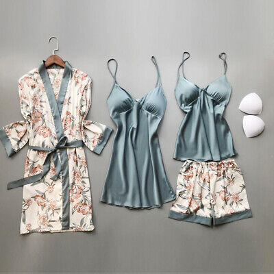 Women 4 Pcs Sexy Satin Silk Lace Sleepwear Pajama Set Slip Dress Robe Top Short