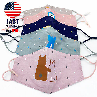 DOUBLE LAYER Reusable Washable Kids Cotton Face Mask Cloth Mouth Cover Children