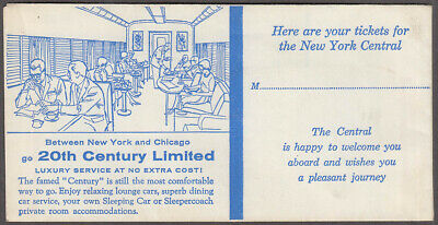 New York Central System railroad ticket envelope 20th Century Limited 1964