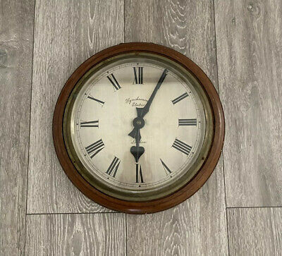 Vintage Synchronome Electric London Brass Bevelled Clock Wooden Mahogany Frame