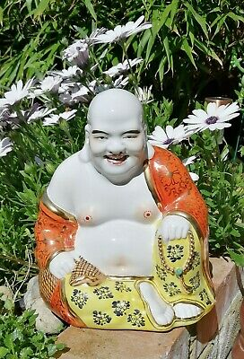 "Large 8.5"" Old Buddha Chinese Porcelain Happy Laughing Gilt Famille Rose Coral"