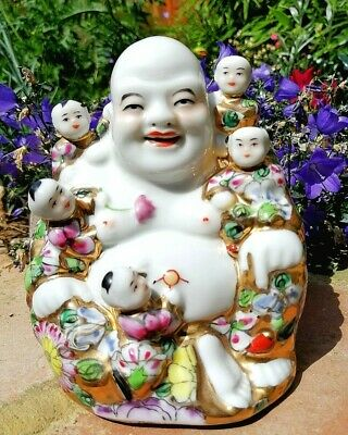 Old Buddha Chinese Porcelain Happy Laughing Famille Rose Gilt Mille Fleur