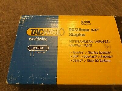 "TACWISE 90 TYPE NARROW CROWN STAPLES 90 / 20mm 3/4"" approx 4500"