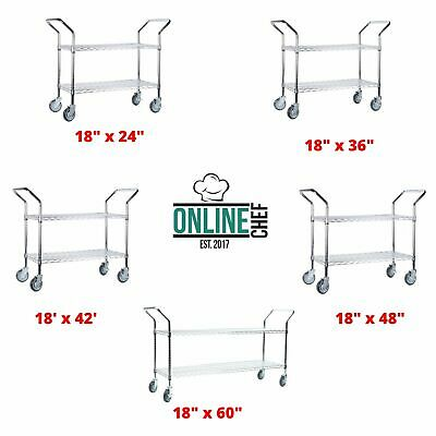 Two Basket Chrome Heavy Duty Utility Carts Metal Wire Open Base Storage Silver