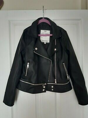 M&S Girls Black Leather (Faux) Jacket - Size 9-10 Years