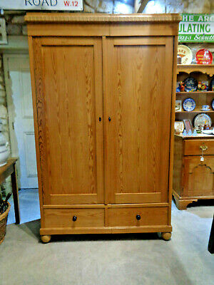 Antique Pine Wardrobe 2 Drawers Below + Fitted Shelving + Rail Inside.