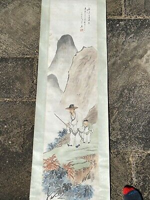 A large 19th century Chinese ink painting on paper scroll