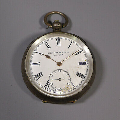 Antique Swiss Made Silver Cased Pocket Watch John Myers & Co. London