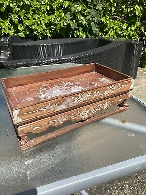 19th/early 20th century Chinese hard wood mother of pearl inlay tray