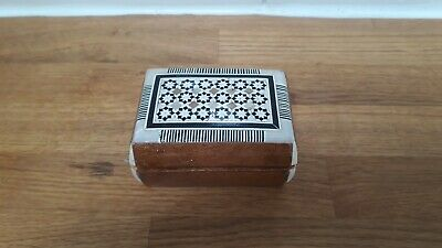 Miniature Hand Carved Wooden Trinket Box with Mother of Pearl Inlay Decoration