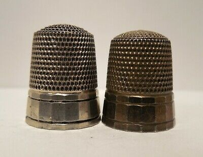 Lot of 2-Simons Brothers-Vintage-Antique-Panel Design-Sterling Silver-Thimbles
