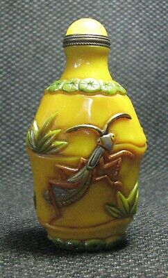 Chinese Traditional Glass Carve Colorful Bamboo And Mantis Snuff Bottle==--