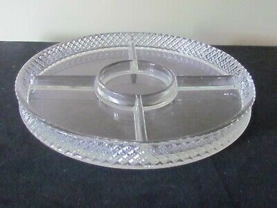 "Rare Chase Brass Divided Glass Insert For 12"" Ring Tray"