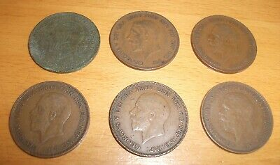 Coins - 6 x George V English pennies various dates