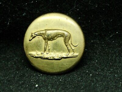 RARE EXHAUSTED BITCH GREYHOUND SPORTING BUTTON 20mm GILT WARRANTED S.Q. c 1840