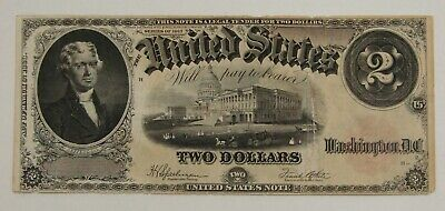 1917 $2 Legal Tender U.S. Large Size Note - Thomas Jefferson - Well Circulated