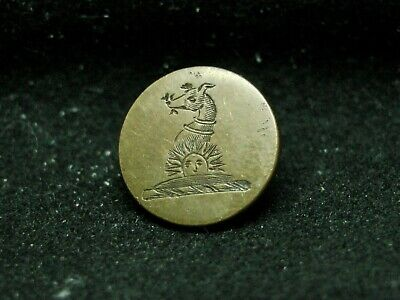 TINY ENGRAVED GREYHOUND HEAD WITH SUN 14mm brass FIRMINS LIVERY BUTTON c 1880