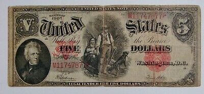 1907 $5 Woodchopper Large Size U.S. Note - Well Circulated