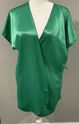 Vintage Satin Green Robe Beth Michaels 8-10 ILGWU Tag R50 Lingerie Gown Nightie
