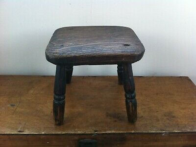 LOVELY OLD DECORATIVE WOODEN 4 LEGGED SQUARE TOP STOOL 8 inches