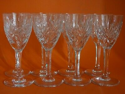 """EIGHT RED  WINE GLASSES CRYSTAL SAINT LOUIS CHANTILLY height 5,9"""""""