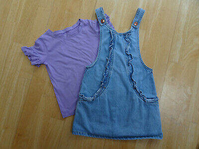 NEXT girls 2 PACK blue summer denim pinafore dress & t shirt AGE 5 YEARS EXCELLE