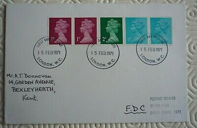GB first Day Cover - Decimal Definitives `Delayed by Post Office Strike` 1971