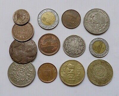 Foreign World Coins Lot Of 13, Dates Range From 1875-1997 + 5 Banknotes As Bonus