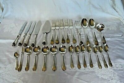 Queen Mary Birks Regency Plate Lot of 28 Flatwares Serving Pieces Spoons and For